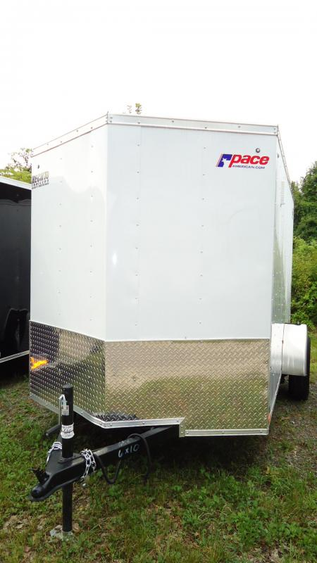 2020 Pace American 6X10 JV SI2 18W RAMP SVNT DRNG WHITE Enclosed Cargo Trailer