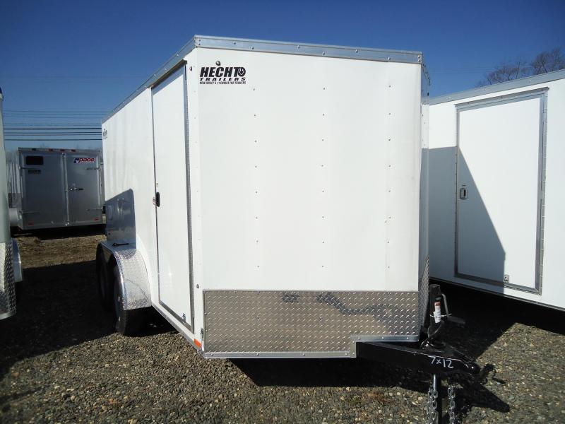 2020 Pace American 7X12 OBDLX TE2 SVNTS WHITE Enclosed Cargo Trailer