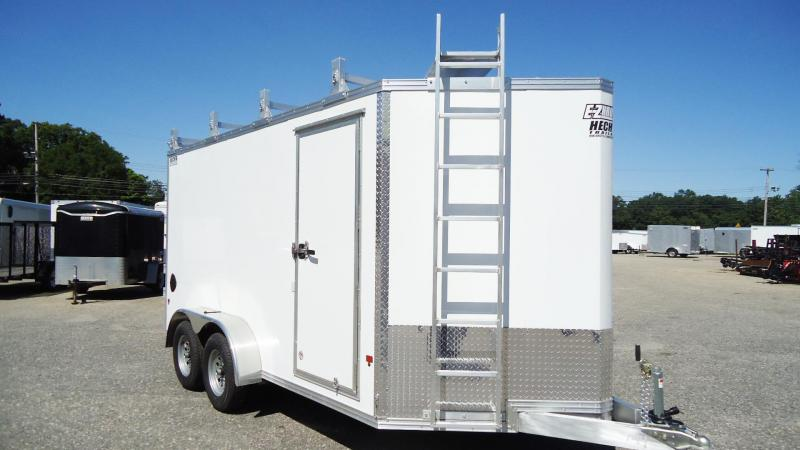2019 E-Z Hauler 7X14 EZEC UCP ULTIMATE CONTRACTOR PACKAGE V SD LDRRCK CATWK WHITE Enclosed Cargo Trailer