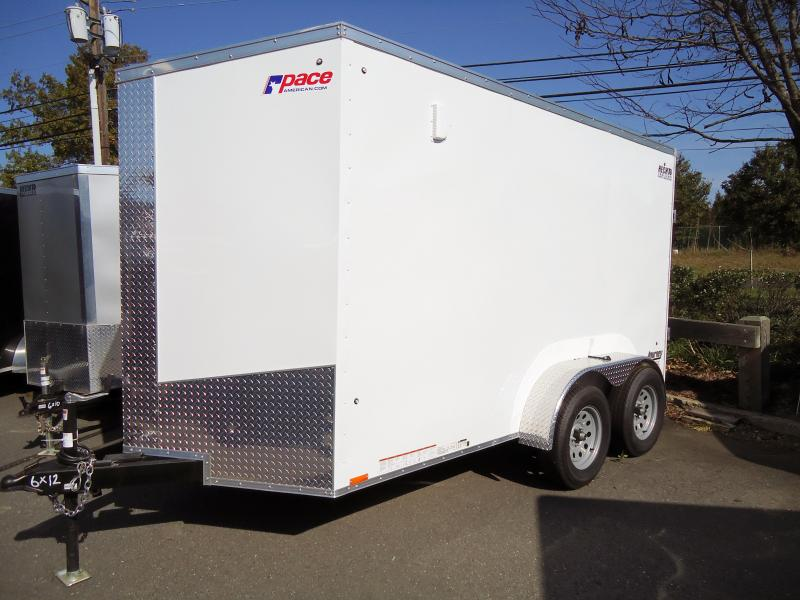 "2019 Pace American 6X12 JVSE TE2 6""X RAMP SVNTS WHITE Enclosed Cargo Trailer"