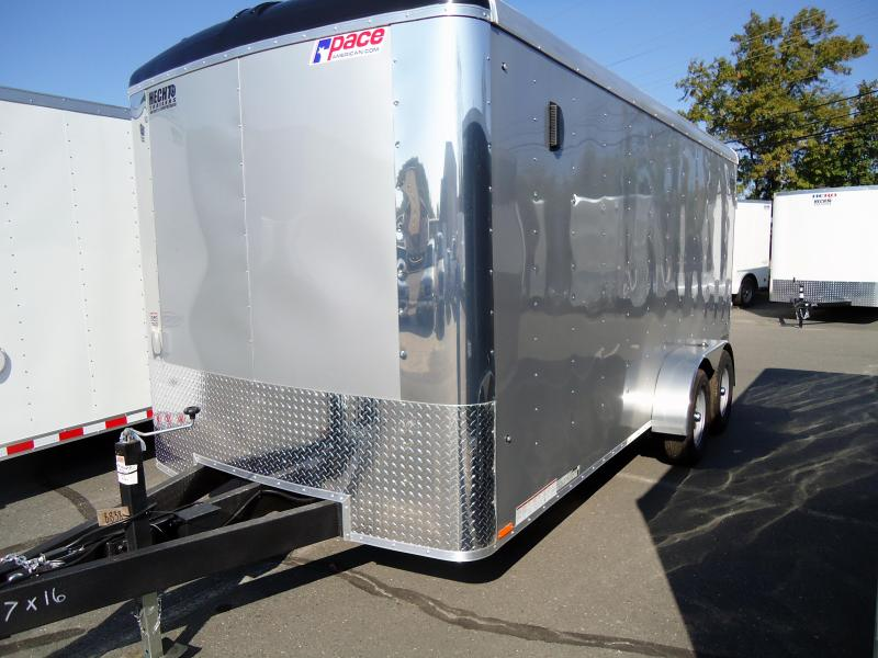 "2019 Pace American 7X16 CLS TE2 6""X RAMP SILVER Enclosed Cargo Trailer"