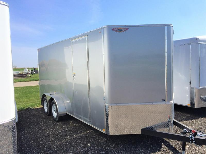 2019 H and H Trailers 7'x16' Cargo Silver Mist Metallic Flat Top V-Nose Tandem Axle
