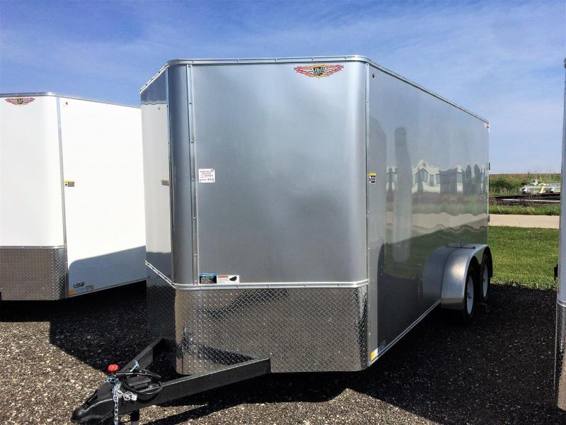 2019 H and H Trailers 7x16 Cargo Silver Mist Metallic Flat Top V-Nose Tandem Axle