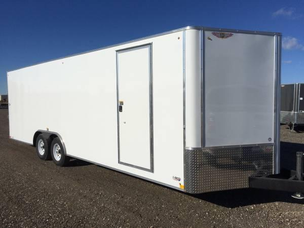 "2020 H and H Trailers 101""x24' White Enclosed Car Hauler V-Nose Tandem Axle"