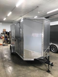 2020 RC Trailers 6'x12' Cargo Silver Flat Top V-nose Enclosed Cargo Trailer
