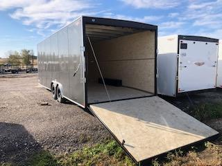"""2020 H and H Trailers 101""""x20' Charcoal Enclosed V-Nose 5.2k Tandem Axle Car Hauler"""