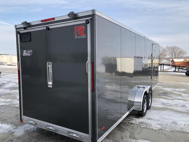 2020 RC Trailers 7'x29' Cargo White Flat Top V-nose Enclosed Snowmobile Trailer