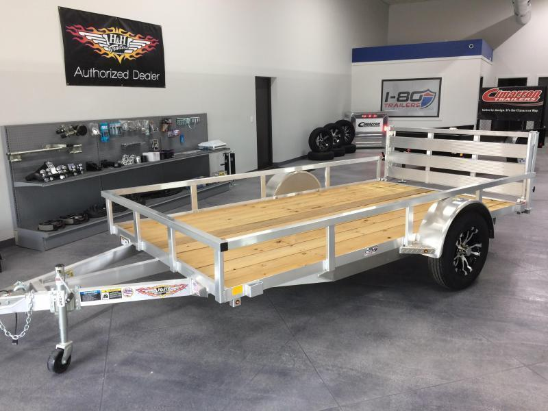 """2020 H and H Trailers 82""""x14' ATV Utility Rail Side Single Axle"""