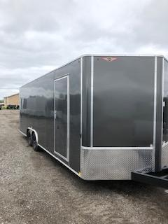 "2020 H and H Trailers 101""x24' Charcoal Enclosed Car Hauler V-nose Tandem Axle"