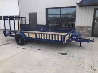 """2020 H and H Trailers 82""""x14' Blue ATV Rail Side 3.5k Axle Utility Trailer"""