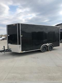 """2020 H and H Trailers 101""""x16' Black Cargo Tandem Axle 5.2k Flat Top V-Nose Trailer"""