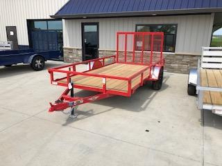 "2020 H and H Trailers 76""x12' Red Steel Rail Side Single Axle Utility"