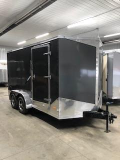 2020 RC Trailers 7'x14' Cargo Black Flat Top V-nose Enclosed Cargo Trailer
