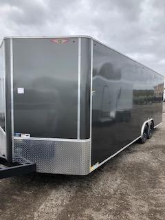 "2020 H and H Trailer 101""x28' Charcoal Cargo 5.2k Axles Enclosed Flat Top V-Nose Car Hauler Trailer"