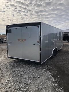 "2020 H and H Trailers 101""x24' Silver Enclosed Car Hauler V-nose Tandem Axle"