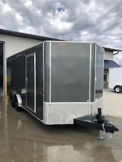 2020 H and H Trailers 8x18 Cargo Charcoal Metallic Flat Top V-Nose Tandem 5.2k Axles
