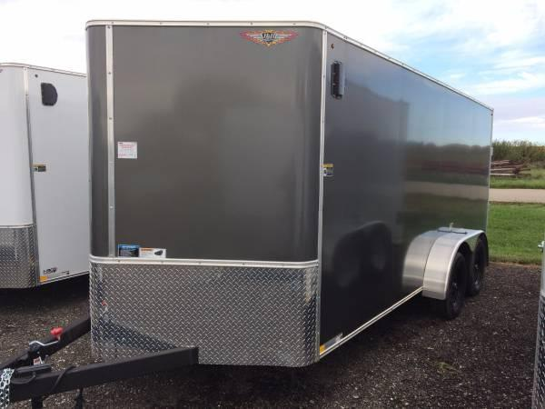2019 H and H Trailers 8x16 Cargo Charcoal Flat Top V-Nose Tandem 5.2k Axle