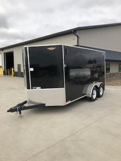 2019 H and H Trailers 7'x14' Cargo Black Flat Top V-Nose Tandem Axle