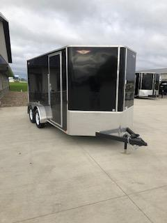 2019 H and H Trailers 7x14 Cargo Black Flat Top V-Nose Tandem Axle