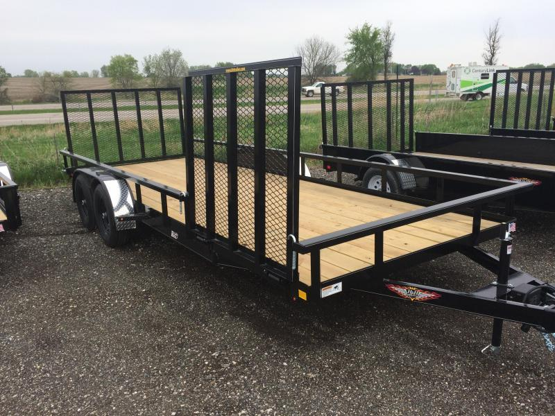 "2019 H&H Trailers 82""x20' Utility Rail Side 7K Tandem Axle Side Ramp"