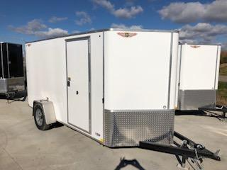 2020 H and H Trailers 7'x12' Cargo Flat Top V-Nose White Single Axle