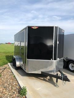 2019 H&H Trailers 7x12 Cargo Black Flat Top V-Nose Tandem Axle