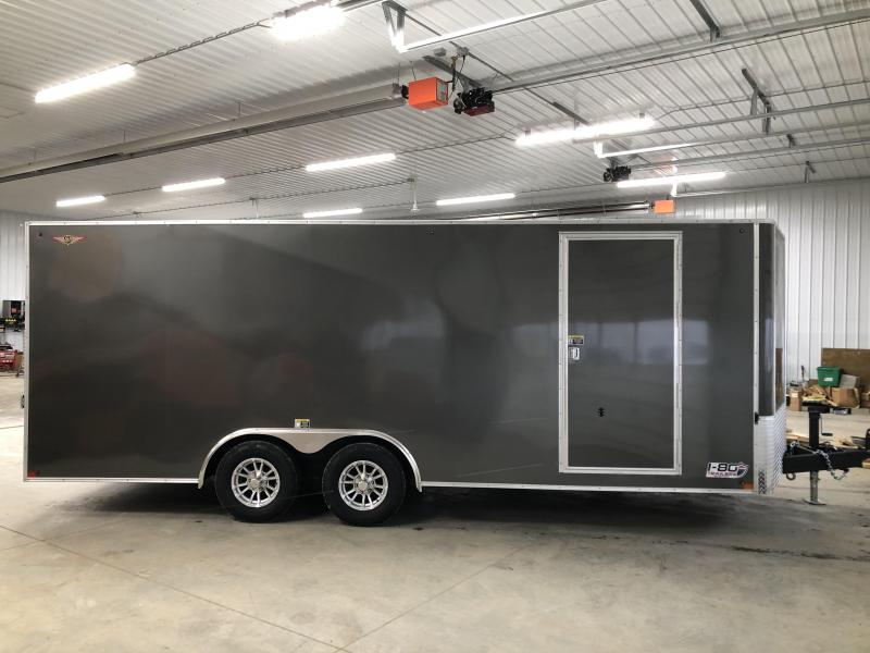 "2020 H and H Trailers 101""x20' Charcoal Enclosed V-Nose 5.2k Tandem Axle Car Hauler"