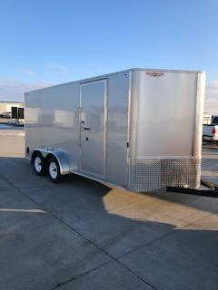 2020 H and H Trailers 7'x16' Cargo Silver Mist Metallic Flat Top V-Nose Tandem Axle