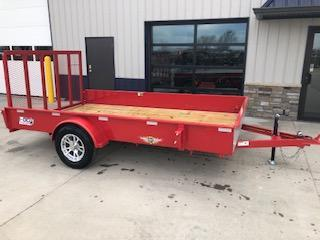 "2020 H and H Trailers 82""x12' Red Solid Side 3.5k Axle Utility Trailer"