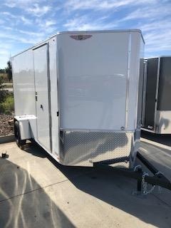 2020 H and H Trailers 6'x12' White Cargo 3.5k Axle Enclosed Flat Top V-Nose Trailer With Barn Doors