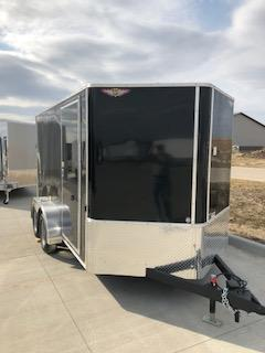 2020 H and H Trailers 7'x12' Black Cargo 3.5k Axles Enclosed Flat Top V-Nose Trailer