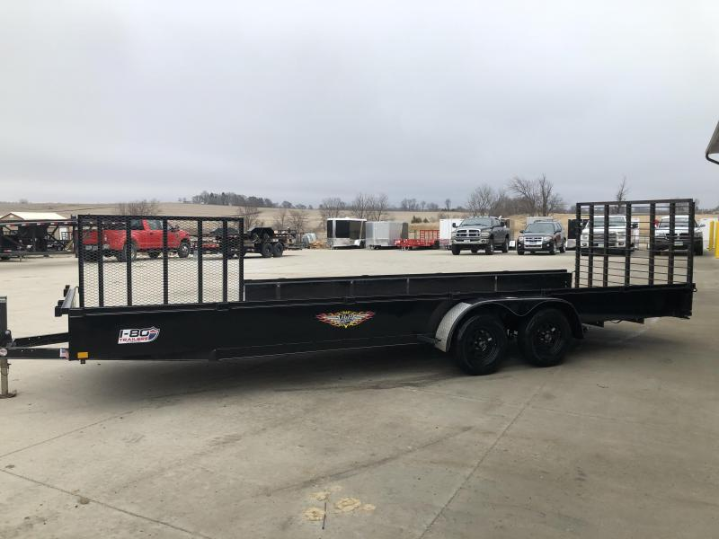 "USED 2016 H and H Trailer 82""x24' Solid Side 3.5k Axles Utility Trailer with Side Gate"