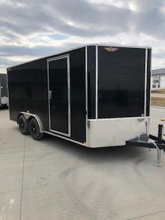 2020 H and H Trailers 8x16 Cargo Black Flat Top V-Nose Tandem 5.2k Axle