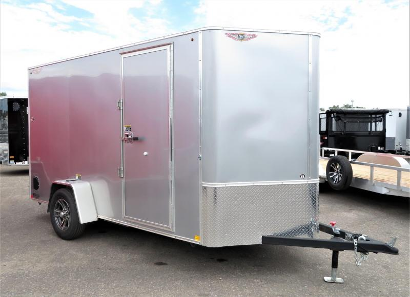 2019 H&H Trailers 6x12 Cargo Silver Flat Top V-Nose Single Axle