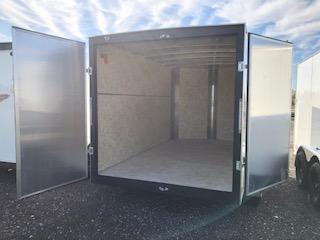 2020 H and H Trailers 7'x12' Cargo Flat Top V-Nose White Tandem Axle