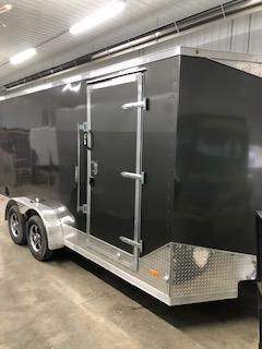 2020 RC Trailers 7'x16' Cargo Charcoal Flat Top V-nose Enclosed Cargo Trailer