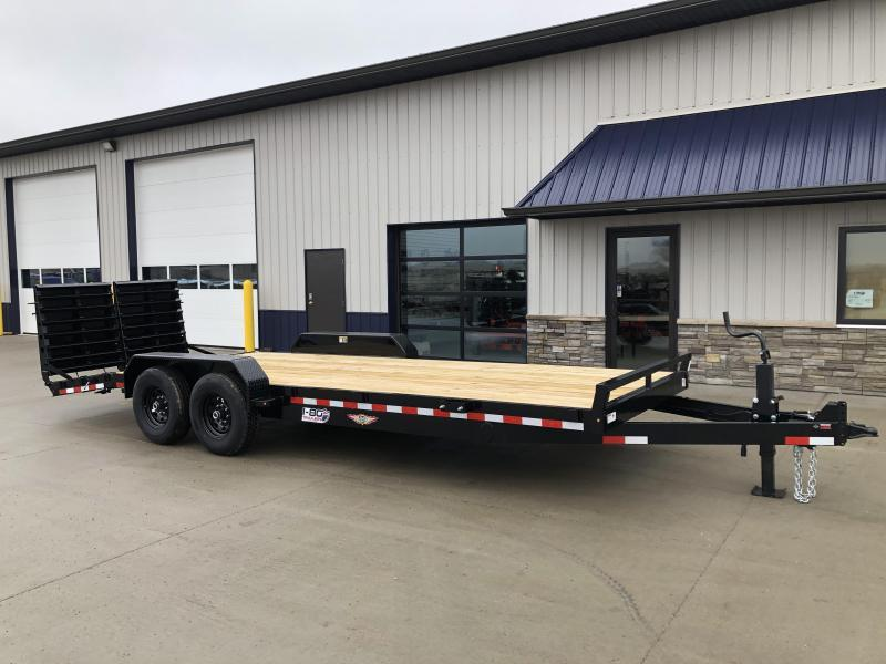 "2020 H and H Trailer 82""x18+4' Super Deluxe Industrial 7k Axles Equipment Trailer"