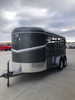 2020 S and S Dura-Line 6' x16' Charcoal Tandem Axle Livestock Trailer