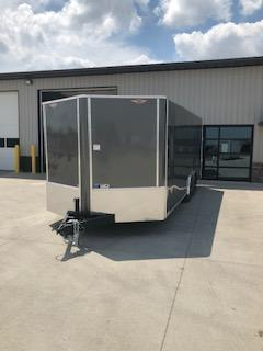 """2020 H and H Trailers 101""""x24' Charcoal Cargo 5.2k Axles Encosed Flat Top V-Nose Car Hauler Trailer"""