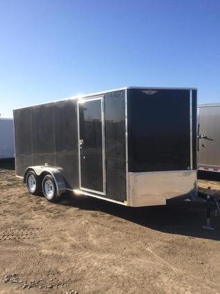 2020 H and H Trailers 7x14 Cargo Black Flat Top V-Nose Tandem Axle