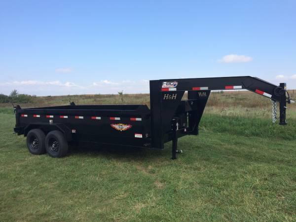 "2018 H&H Trailers 83""x16' DBW Gooseneck Dump Box Tandem Axle"