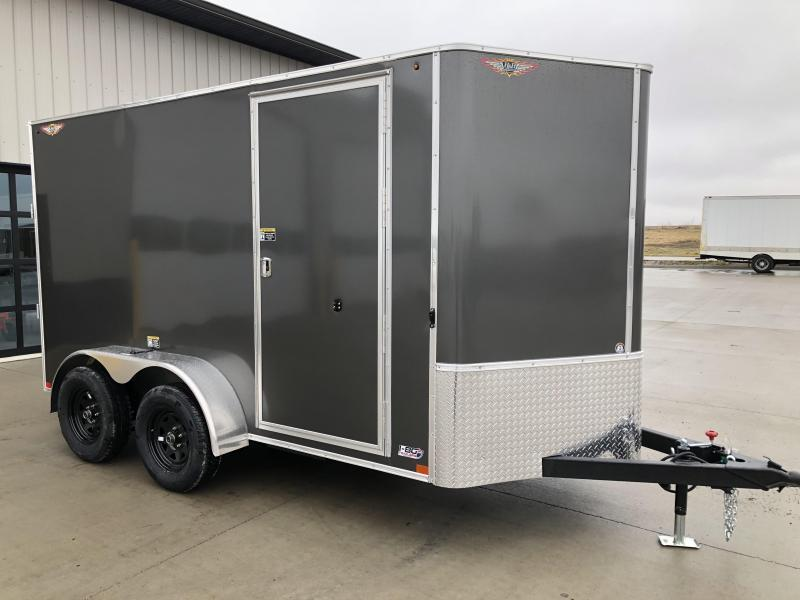 2020 H and H Trailers 7'x12' Charcoal Cargo 3.5k Axles Enclosed Flat Top V-Nose Trailer