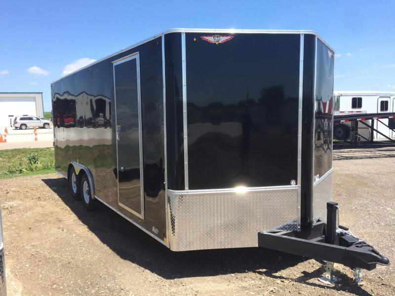 "2020 H and H Trailers 101""x20' Black Enclosed Car Hauler V-Nose Tandem Axle"