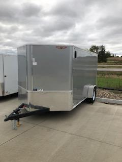 2020 H and H Trailers 7'x12' Cargo Silver Flat Top V-Nose Single Axle