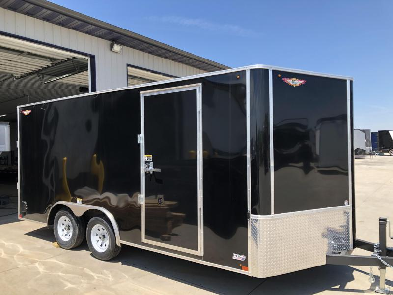 2020 H and H Trailers 8.5'x16' Black Cargo 3.5k Axles Enclosed Flat Top V-Nose Trailer