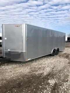 """2020 H and H Trailers 101""""x24' Silver Cargo 5.2k Axles Enclosed V-Nose Car Hauler Trailer"""