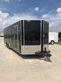 2020 H and H Trailers 101x24 Black Enclosed Car Hauler V-Nose Tandem Axle
