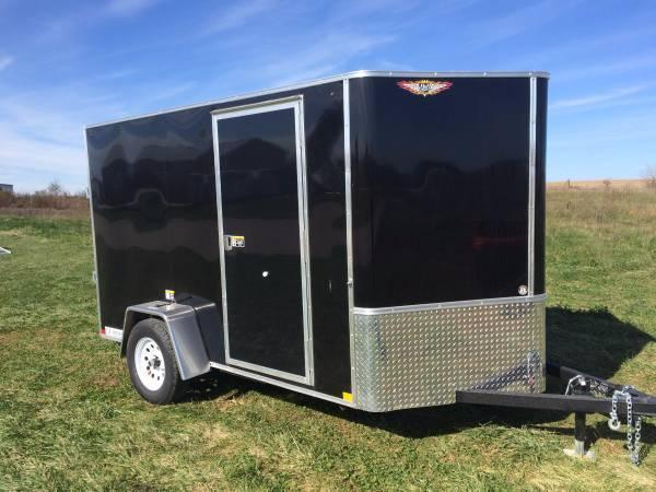 2020 H and H Trailers 6'x10' Cargo Black Flat Top V-Nose Single Axle