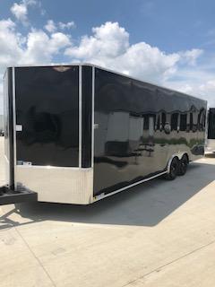 "2020 H and H Trailers 101""x24' Black Enclosed Car Hauler V-Nose Tandem Axle"