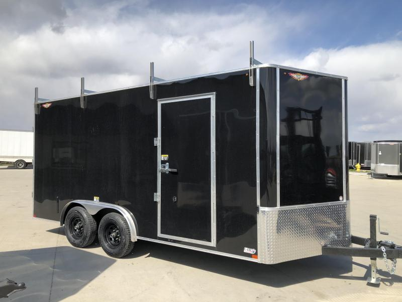 2020 H and H Trailer 8'x16' Black Cargo 5.2k Axles Enclosed Flat Top V-Nose Trailer with Barn Doors